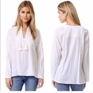 VINCE | FLAW! | Chalk Wool Blend Tunic with Tassel